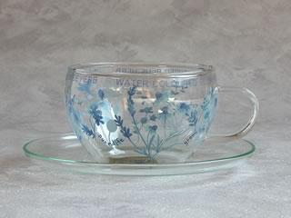 ガラスティーカップ&ソーサーBlueHerb
