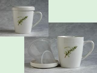 ティーカップ(茶こし、蓋付き)